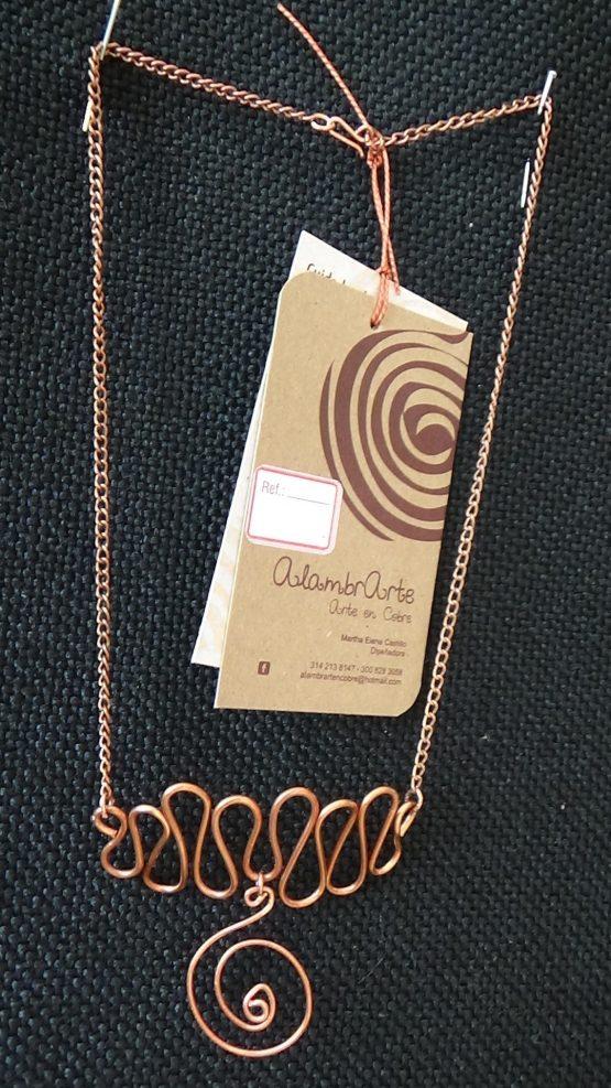 Collar + aretes Cobre y cuero sintetico20